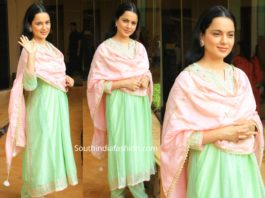 kangana ranaut in green salwar kameez at panga screening