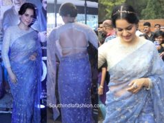 kangana ranaut in lavender saree at panga promotions