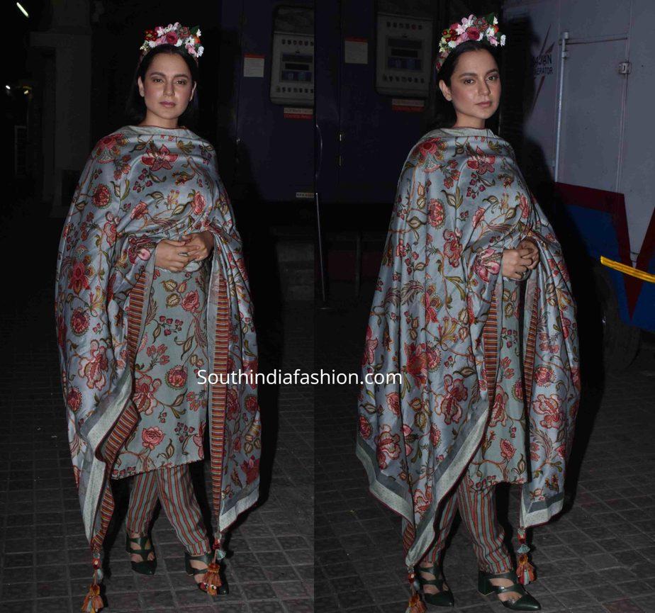 kangana ranaut in salwar kameez with floral tiara at panga promotions