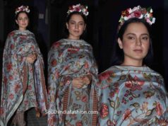 kangana ranaut in salwar kameez with floral tiara at panga promotions