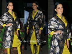 kangana ranaut in yellow kurta with brocade jacket panga promotions