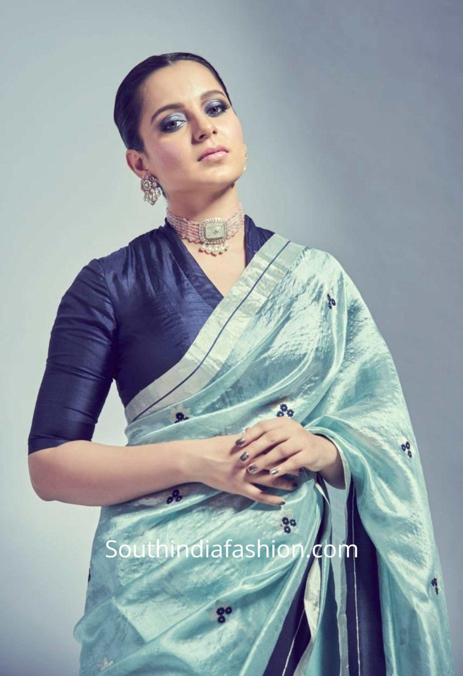 kangana ranaut light blue chanderi saree panga promotions (2)