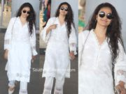 keerthy suresh white kurta set at airport no makeup (1)