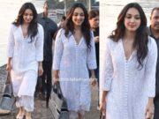 kiara advani in casual white kurta palazzo set