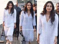 kiara advani in casual white kurta palazzo set