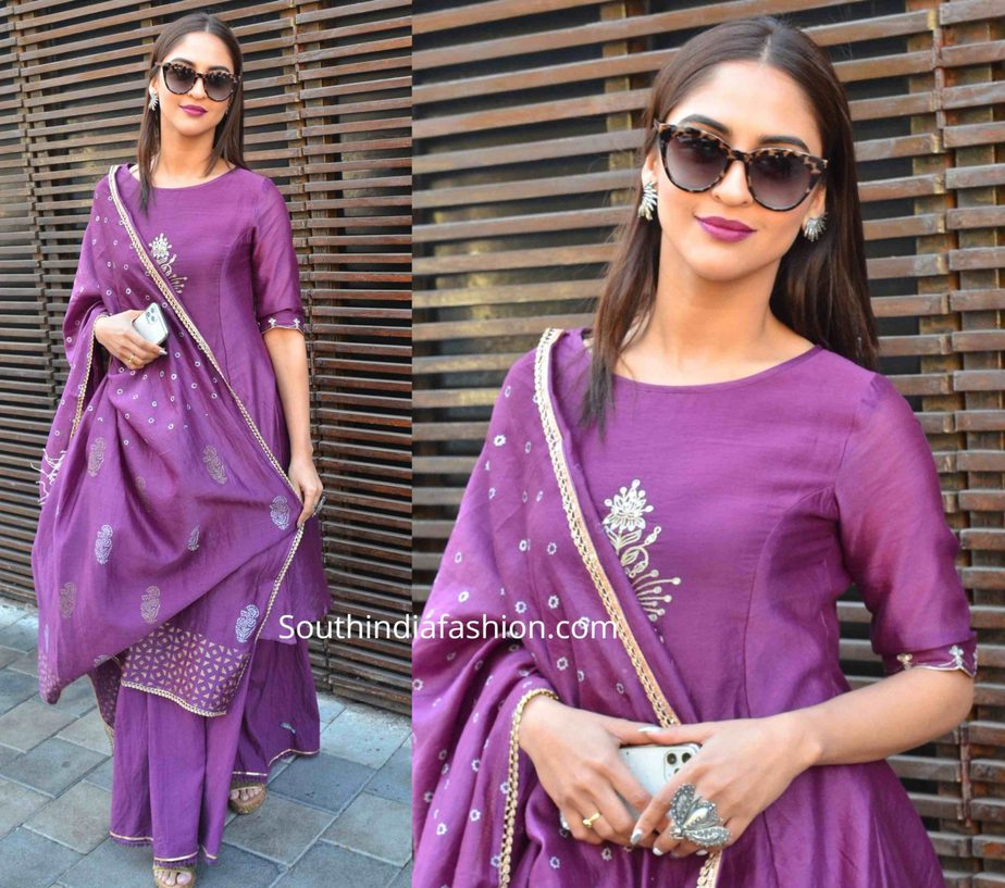 krystle dsouza in purple lehenga at a mehndi function (2)