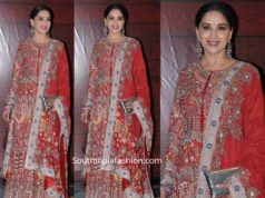 madhuri dixit in red anarkali suit at javed akhtar birthday party