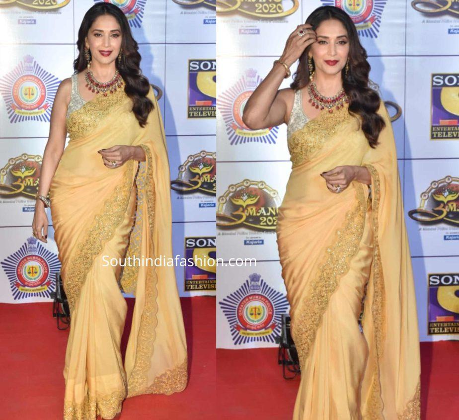 madhuri dixit in yellow saree at umang 2020 (2)