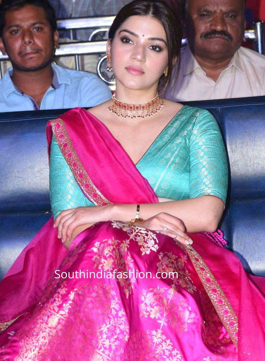 mehreen in pink banarasi lehenga at aswathama audio launch (2)