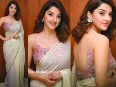mehreen pirzadaa in plain saree with pink embroidered blouse (2)