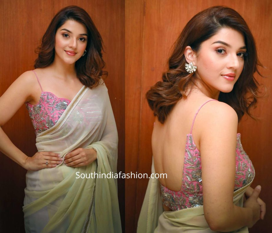 mehreen pirzadaa in plain saree with pink embroidered blouse