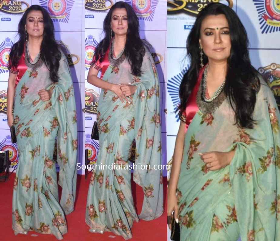 mini mathur in floral saree at umang police show
