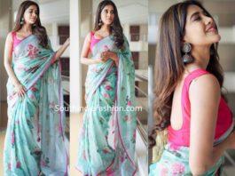 nabha natesh blue linen saree