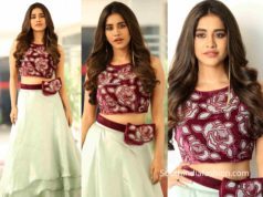 nabha natesh in blue lehenga with purple blouse at disco raja promotions (2)