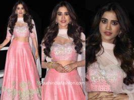 nabha natesh in pink lehenga at disco raja pre release event (2)