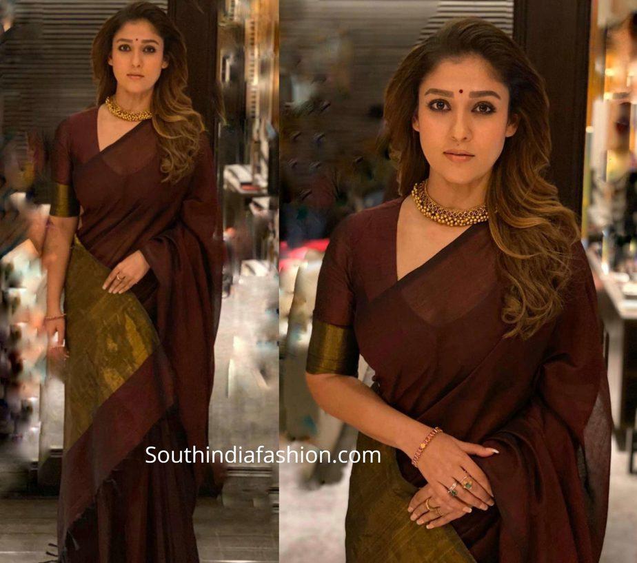 nayanthara maroon saree at zxee cine awards tamil 2020