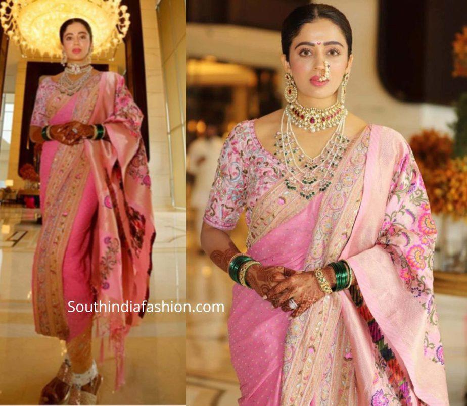 neha pendse pink marathi saree at her wedding