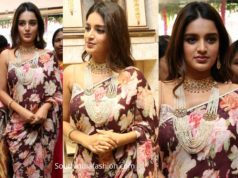 nidhhi agerwal in floral saree at manepally jewelry store launch