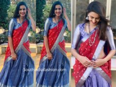 niharika konidela in red and blue half saree