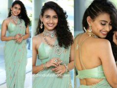 nitya naresh in blue saree (2)