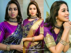 nivetha pethuraj in purple silk saree (3)