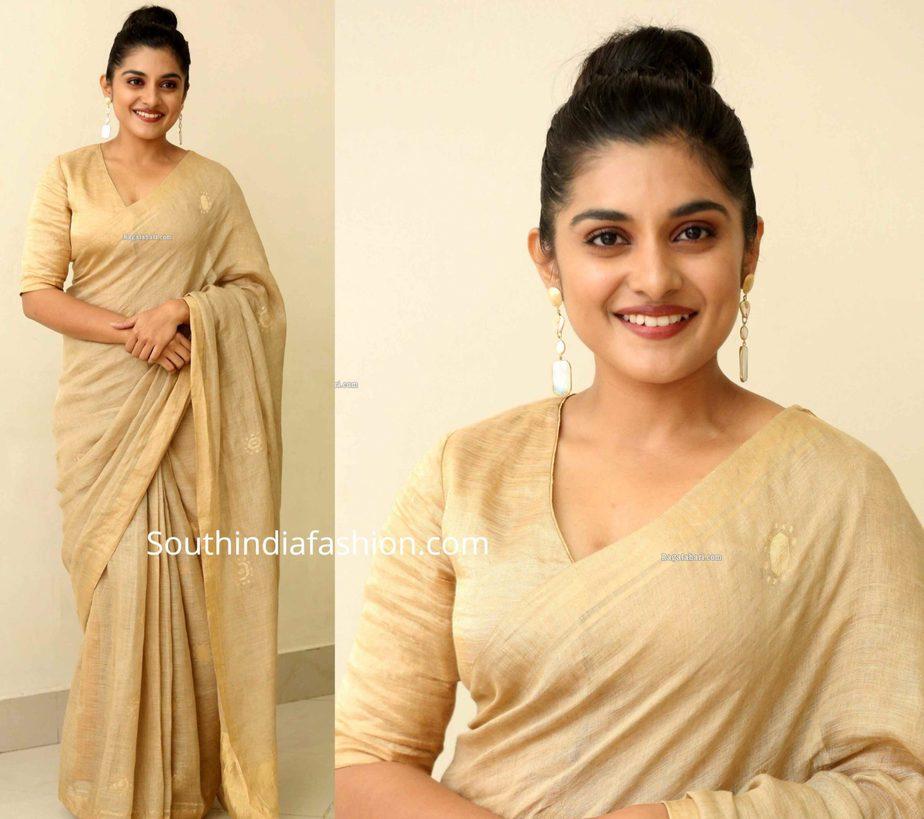 nivetha thomas gold saree at darbar pre release event (1)