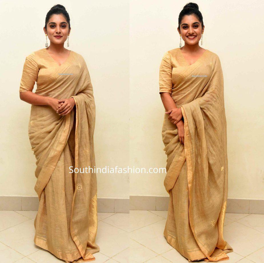 nivetha thomas gold saree at darbar pre release event (2)