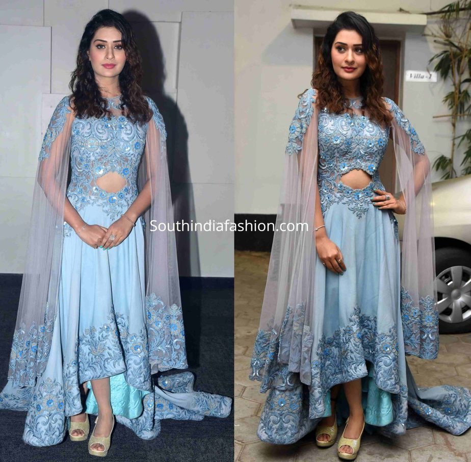 payal rajput in blue dress at disco raja pre release event (2)
