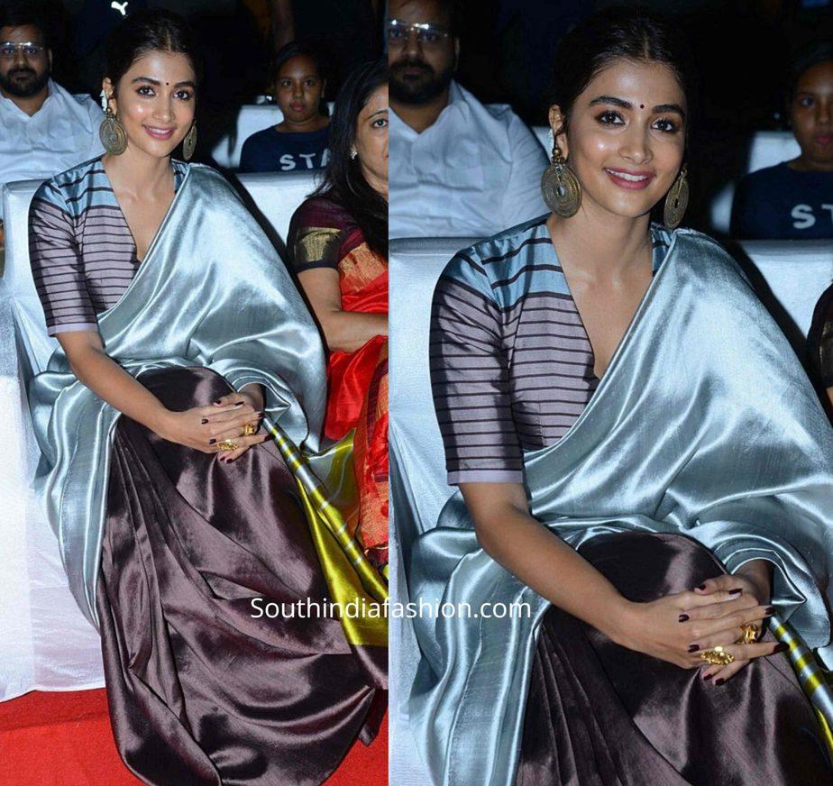 pooja hegde in payal khandwala silk saree at ala vaikunthapuramloo success meet (2)