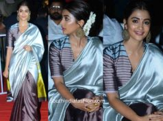 pooja hegde in payal khandwala silk saree at ala vaikunthapuramloo success meet (3)