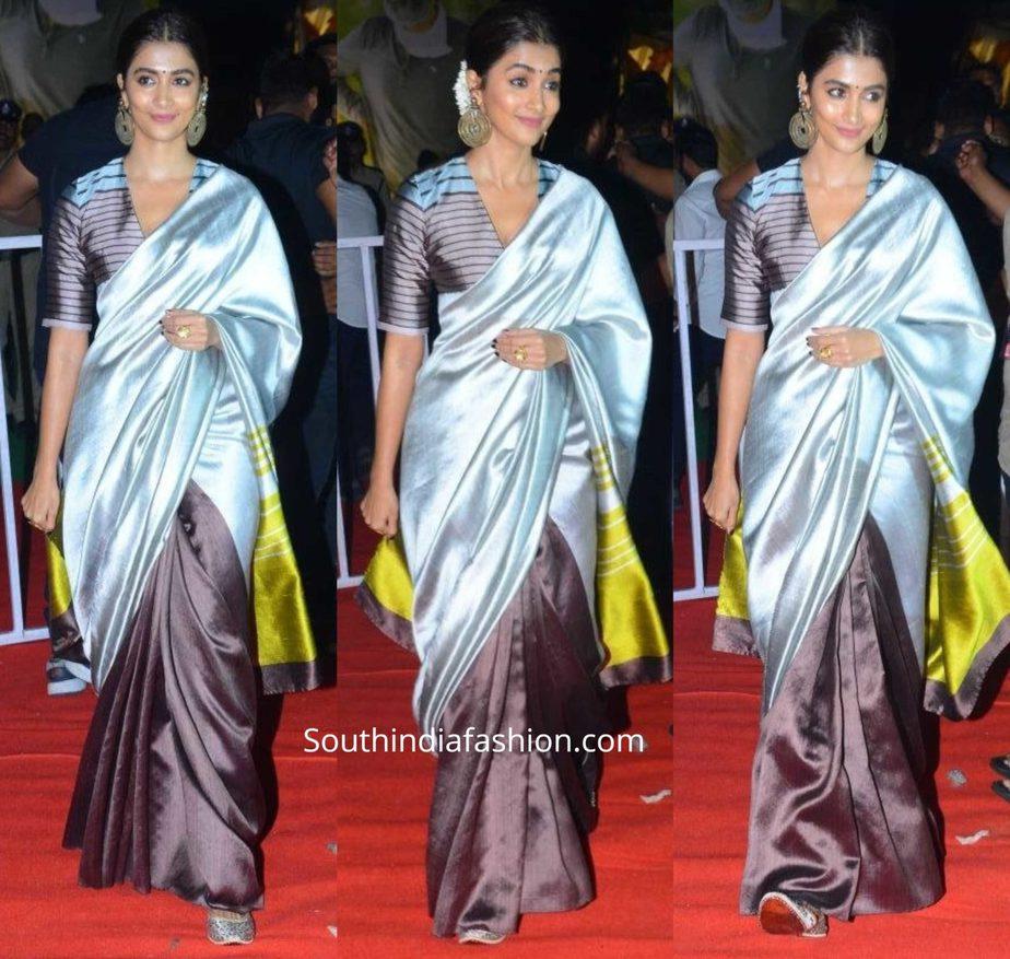 pooja hegde in payal khandwala silk saree at ala vaikunthapuramloo success meet