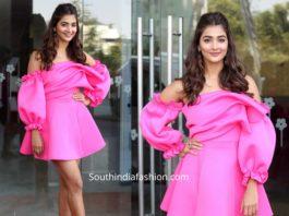 pooja hegde in pink mini dress at ala vaikunthapuramulo thanks meet (1)