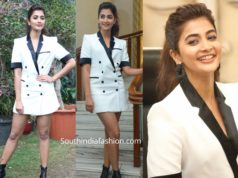 pooja hegde in white suit dress at ala vaikunthapuramuloo promotions