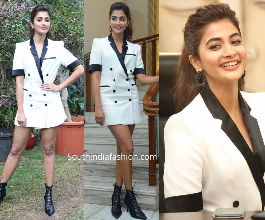 pooja hegde in white suit dress at ala vaikunthapuramuloo promotions
