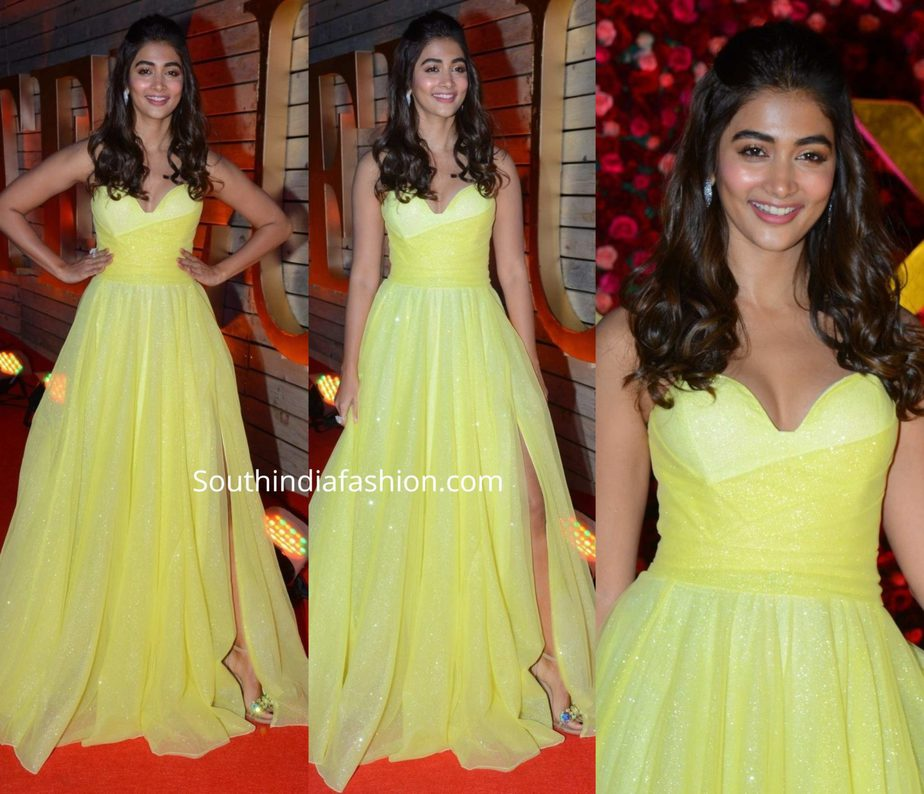 pooja hegde in yellow gown at zee cine awards telugu 2020