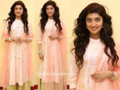 pranitha subhash pink and gold palazzo suit