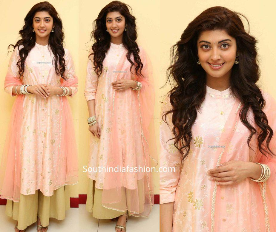 pranitha subhash pink and gold palazzo suit