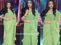 priyamani in green ruffle saree