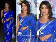 priyanka chopra in blue silk saree at umang police show 2020