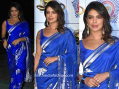 priyanka chopra in blue silk saree at umang police show 2020