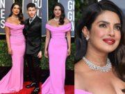 priyanka chopra pink dress at golden globes awards 2020