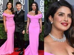 priyanka chopra pink dress at golden globes awards 2020