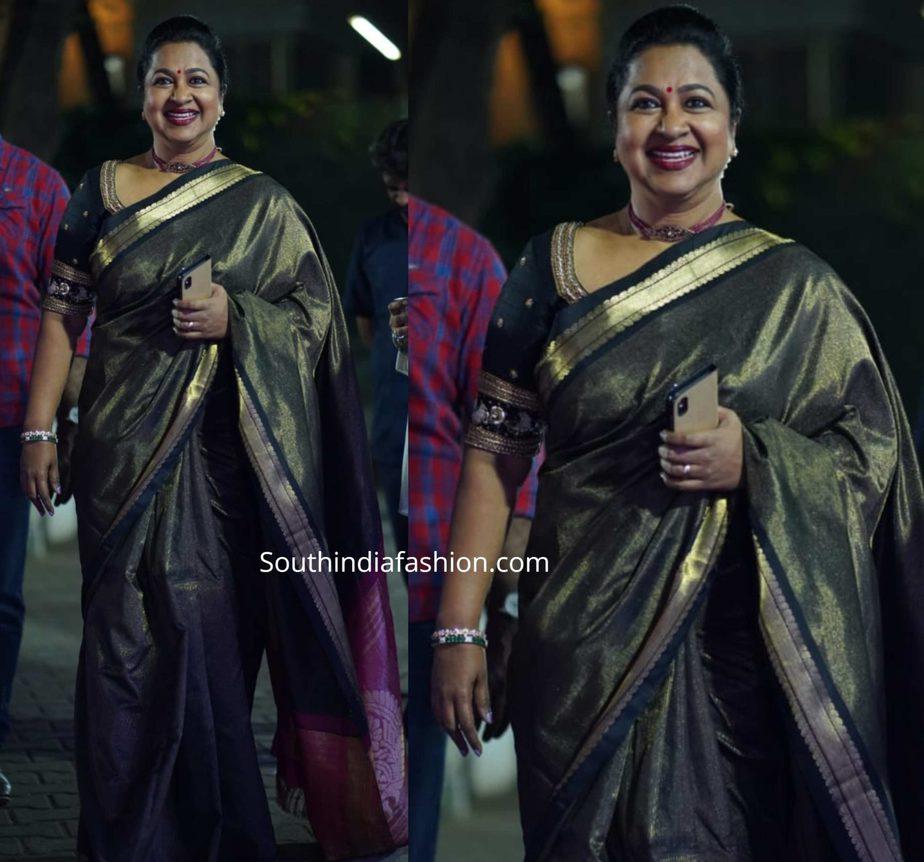 radhika sarathkumar in black silk saree at movie audio launch