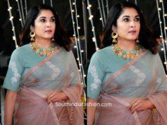 ramya krishnan in organza saree at zee cine awards tamil 2020 (1)