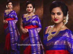ramya pandian in red and blue kanjeevaram silk saree (2)