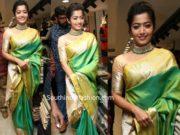 rashmika mandanna green saree at klm shopping mall launch