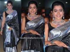 rashmika mandanna in black pattu saree at sarileru neekevvaru blockbuster celebrations (2)
