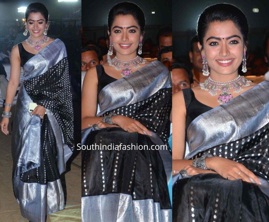rashmika mandanna in black pattu saree at sarileru neekevvaru blockbuster celebrations (2)