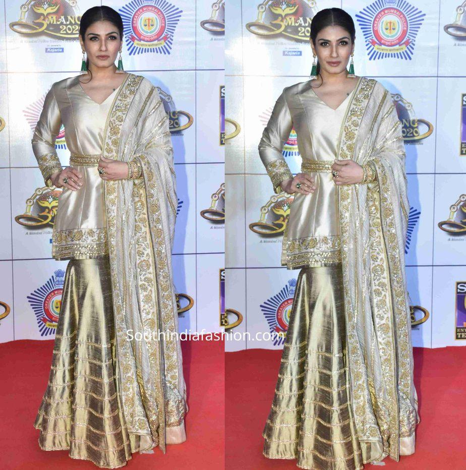 raveena tandon gold sharara umang 2020 (2)