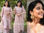 regina cassandra in peach palazzo suit at a mehendi function